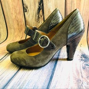 Sofft Brown Suede and Patent Mary Janes Heels EUC